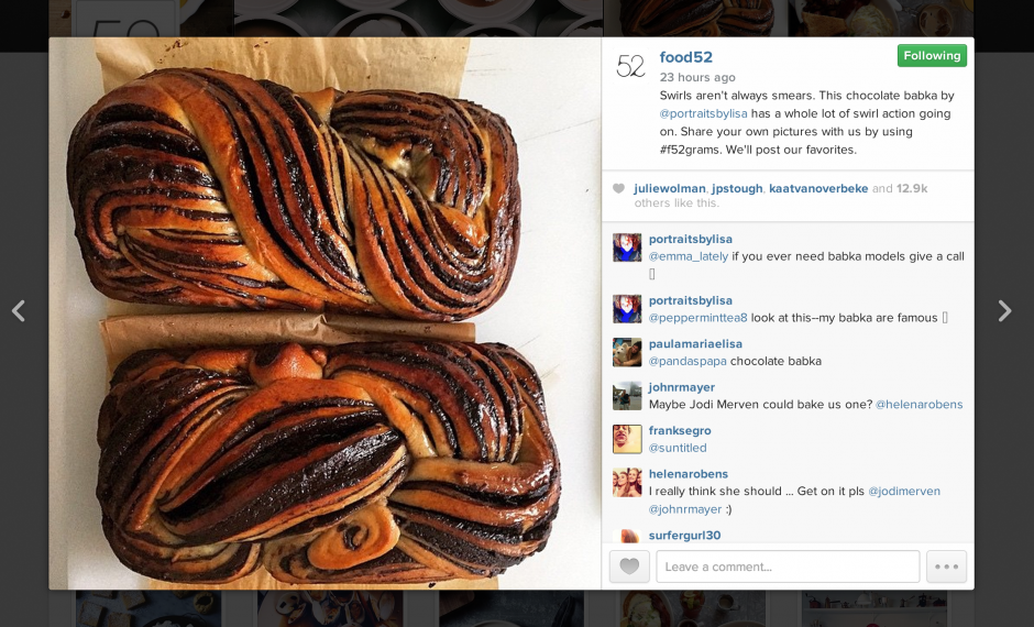 Collaboration plays a strong role in Food52's viral growth hacking on Instagram for the food & drink content space.