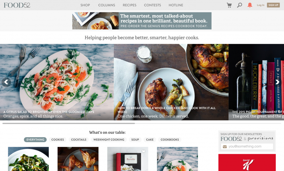 Food 52's beautiful, fully responsive website that powers the amazing media and content produced and strategized for their Instagram channel, @food52.