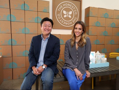 The Honest Co. CEO & founder, Brian Lee and Jessica Alba. Photo courtesy re/code.