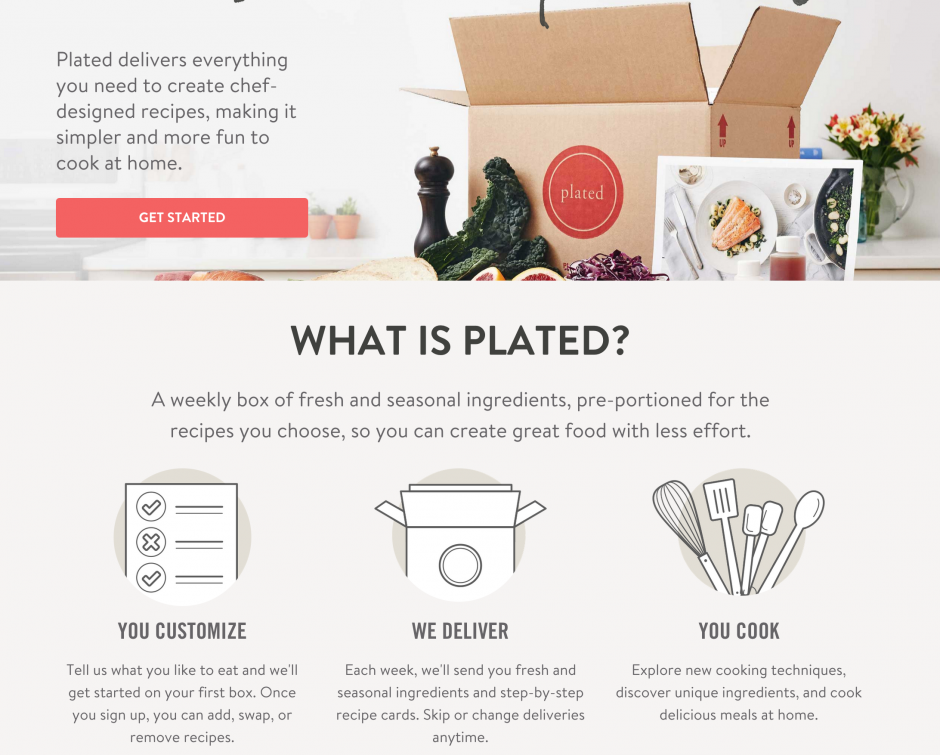 The Plated website is the central location for all account management, orders, and recipe selections.