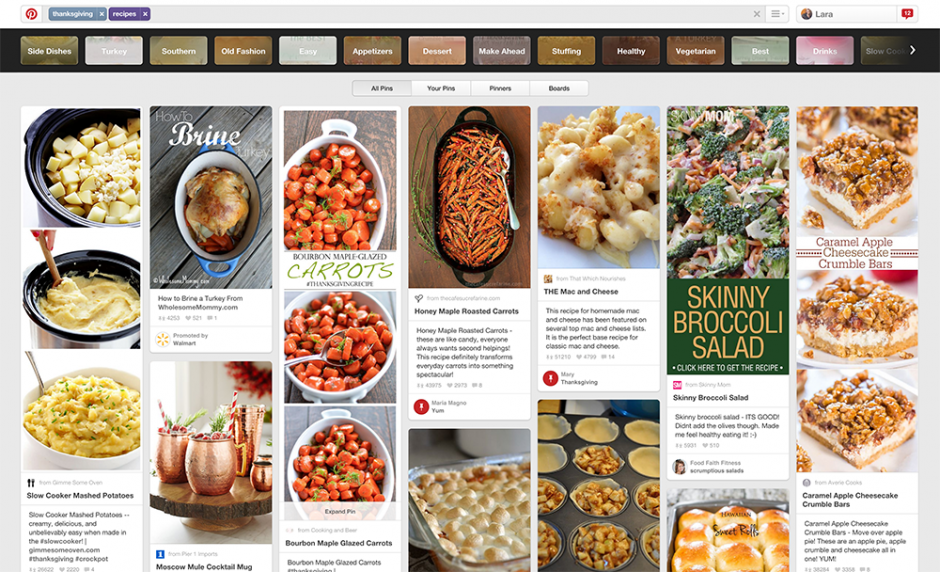 A snapshot/screenshot of many recipes from Pinterest for Thanksgiving.