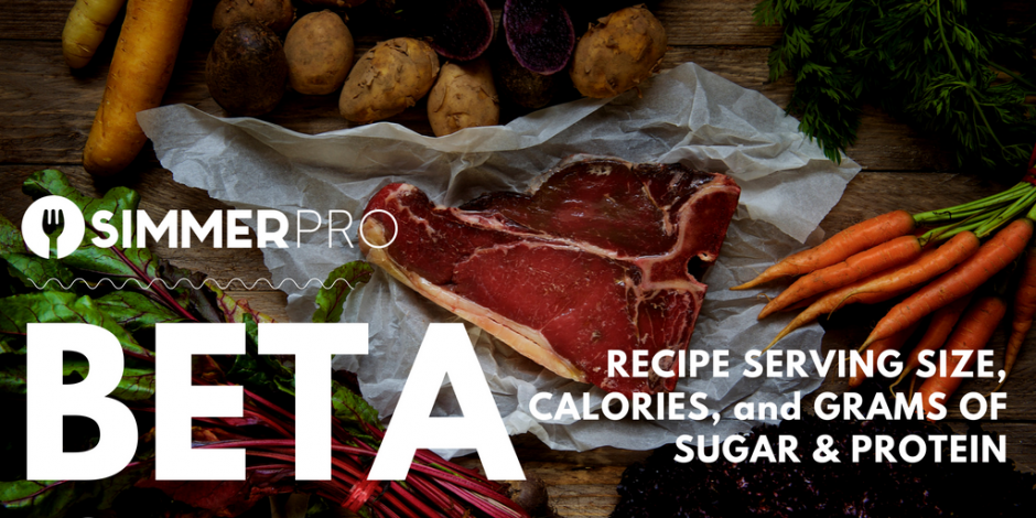 Simmer Pro Beta 0.5 Nutrition promo for recipe serving size, calories, and grams of fat & sugar