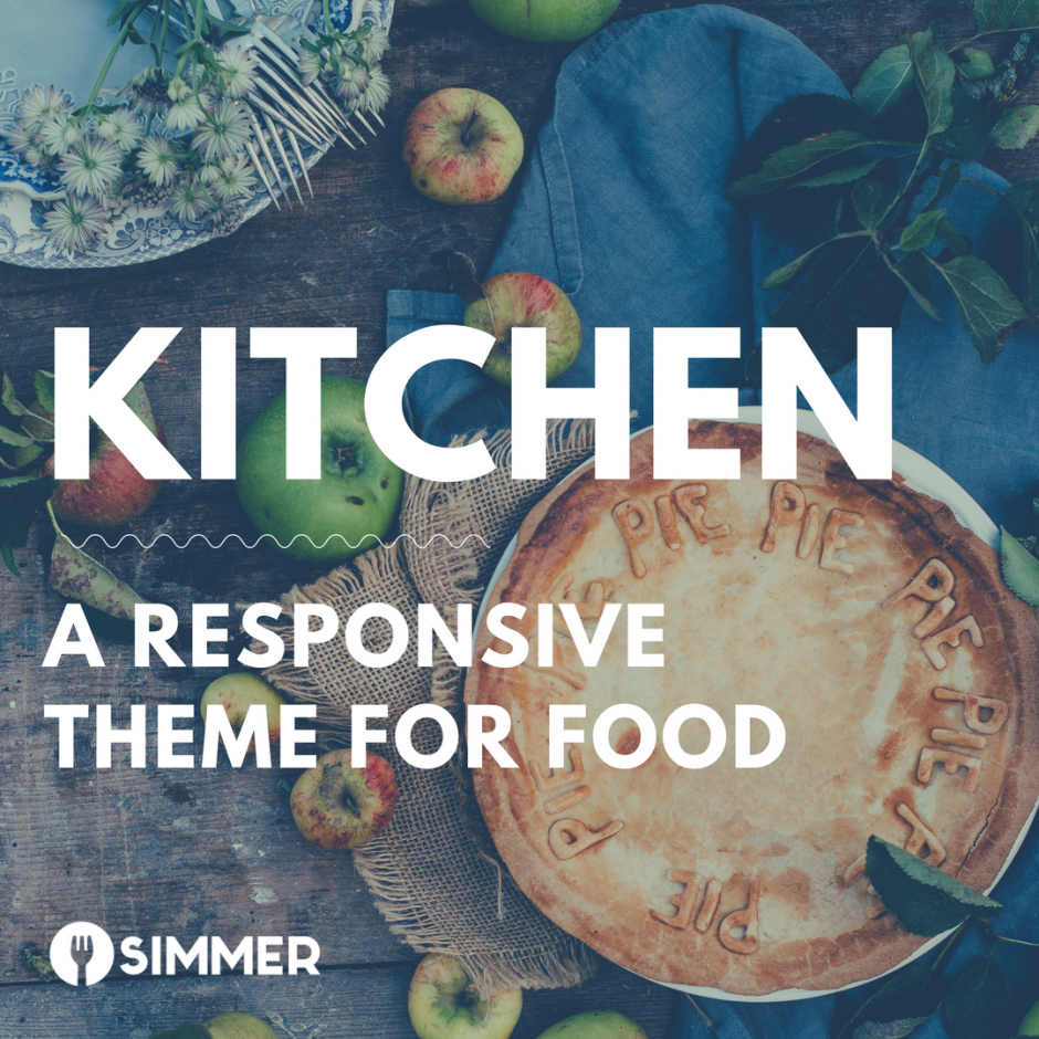 "Apples and fresh baked apple pie on a rustic counter with text overlay, ""Kitchen: a responsive theme for food"""
