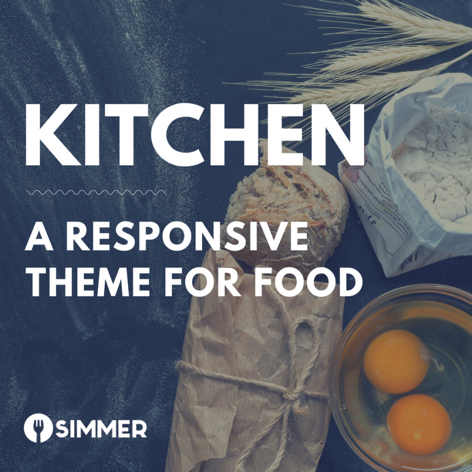 "Flour, wheat, baker's paper and tie, eggs, fresh bread on slate with text overlay, ""Kitchen: a responsive theme for food"""