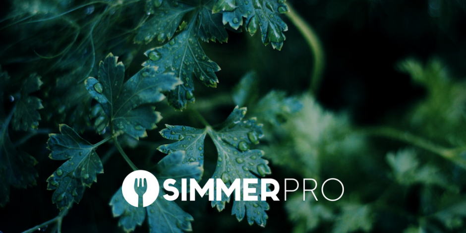 Simmer Pro promo over parsley in a garden with rain