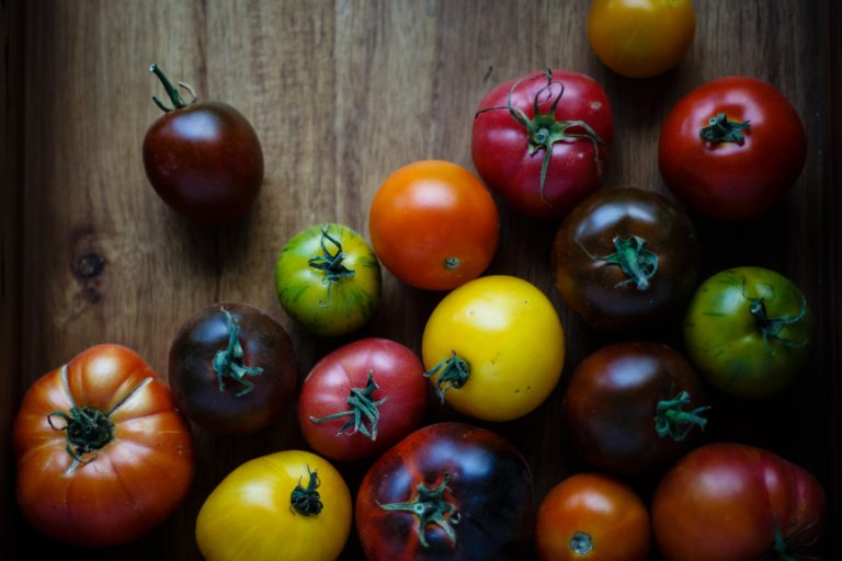 Tomatoes of all colors on a wooden counter