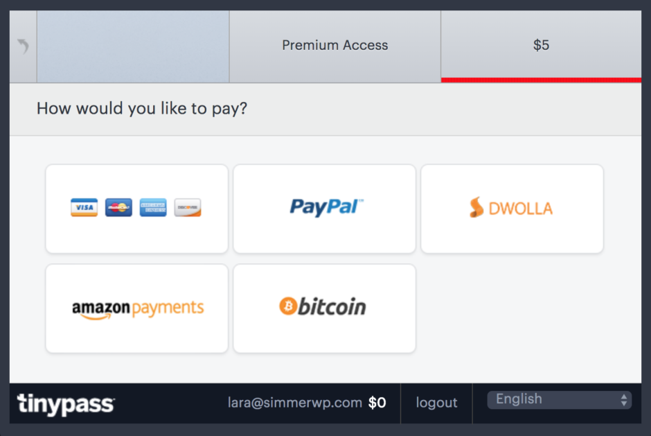 Example premium access payment options.
